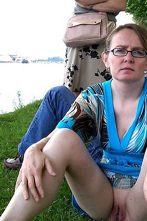 Mature wives with no panties spreading legs outdoors