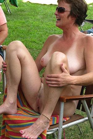 Nudist older dames spreading with no shame