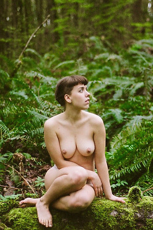First undressing for nudist photosession