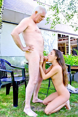 Old nudist men having fun with nudist girls