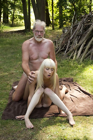 Naturists with age difference completely nude