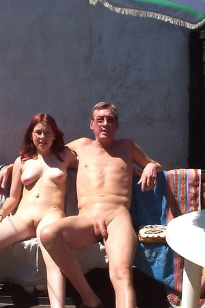 Old pervert man with young nudist girl