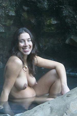 Pregnant naturist women on pure nature