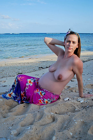Sexy nudist preggos topless on beach