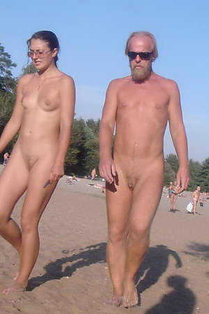 Amateur nudist couples naked on the road